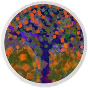 Autumn Message Tree Round Beach Towel