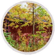 Autumn Michigan Barn  Round Beach Towel
