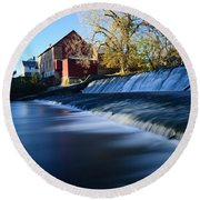 Autumn Mill Portrait Round Beach Towel