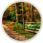 Autumn Moment - Allaire State Park Round Beach Towel