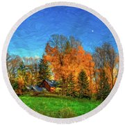 Autumn Moon Rising Round Beach Towel