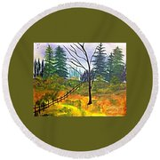 Autumn Morning In The Wild Round Beach Towel