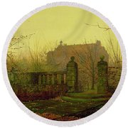Autumn Morning Round Beach Towel by John Atkinson Grimshaw