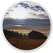 Autumn Morning On The Fields Round Beach Towel