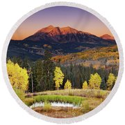 Autumn Mountain Landscape, Colorado, Usa Round Beach Towel