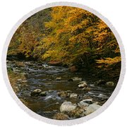 Autumn Mountain Stream Round Beach Towel