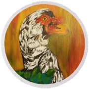 Autumn Muscovy Portrait Round Beach Towel
