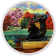 Autumn Music Round Beach Towel