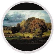 Autumn Oaks , George Inness Round Beach Towel