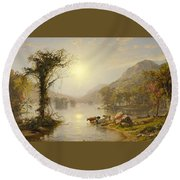 Autumn On Greenwood Lake Round Beach Towel