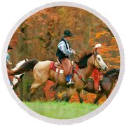 Autumn On Horseback Round Beach Towel