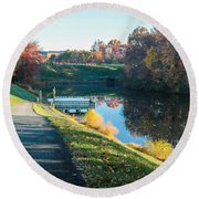 Autumn On Lake Inspiration Round Beach Towel