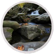 Autumn On Little River In The Smoky Mountains Round Beach Towel