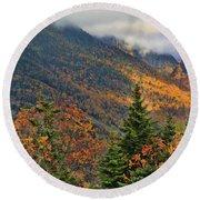 Autumn On Mount Mansfield Vermont Round Beach Towel