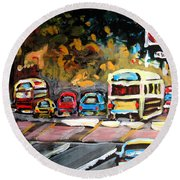 Autumn On The Boulevard Round Beach Towel