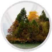 Autumn On The Columbia Round Beach Towel