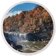 Autumn On The Cumberland  Cumberland Falls Round Beach Towel