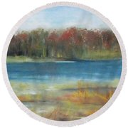 Autumn On The Maurice River Round Beach Towel