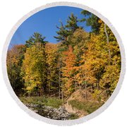 Autumn On The Riverbank - The Changing Forest Round Beach Towel