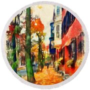 Autumn On The Streets Of Boston Round Beach Towel
