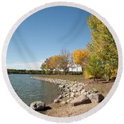 Autumn On The Water Round Beach Towel