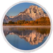 Autumn Oxbow Bend Reflections Round Beach Towel