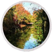 Autumn Park With Bridge Round Beach Towel