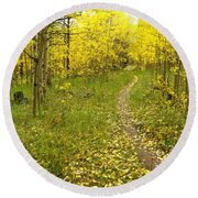 Autumn Path Round Beach Towel