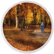 Autumn - People - A Walk In The Park Round Beach Towel