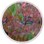 Autumn Pink Poster Round Beach Towel