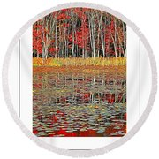 Autumn Pond And Lily Pads Poster Round Beach Towel