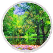 Autumn Pond In Gladwyne Round Beach Towel by Bill Cannon