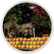 Autumn Pumpkins And Cornstalks Graphic Effect Round Beach Towel