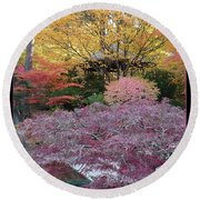Autumn Purple Round Beach Towel