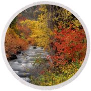 Autumn Rapids Round Beach Towel