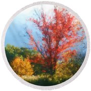 Autumn Red And Yellow Round Beach Towel by Smilin Eyes  Treasures