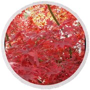 Autumn Red Poster Round Beach Towel