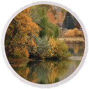 Autumn Reflection 41 Round Beach Towel