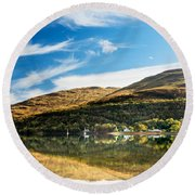 Autumn Reflection, Loch Long Round Beach Towel