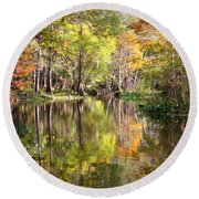 Autumn Reflection On Florida River Round Beach Towel by Carol Groenen