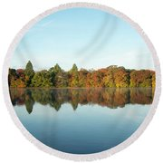 Autumn Reflections At Belmont Lake Round Beach Towel