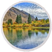 Autumn Reflections At Intake Lake II Round Beach Towel