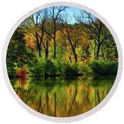Autumn Reflections On Salt Creek IIi Round Beach Towel