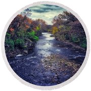 Autumn Riders On The Storm Round Beach Towel