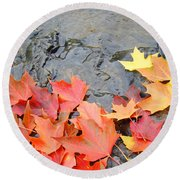 Autumn River Landscape Red Fall Leaves Round Beach Towel
