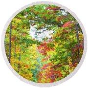 Autumn Road - Digital Paint Round Beach Towel