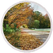 Autumn Road With Fence  Round Beach Towel