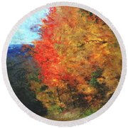 Autumn Roadside Round Beach Towel