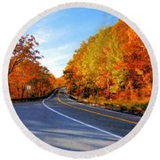 Autumn Scene With Road In Forest 2 Round Beach Towel