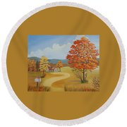 Autumn Season Round Beach Towel